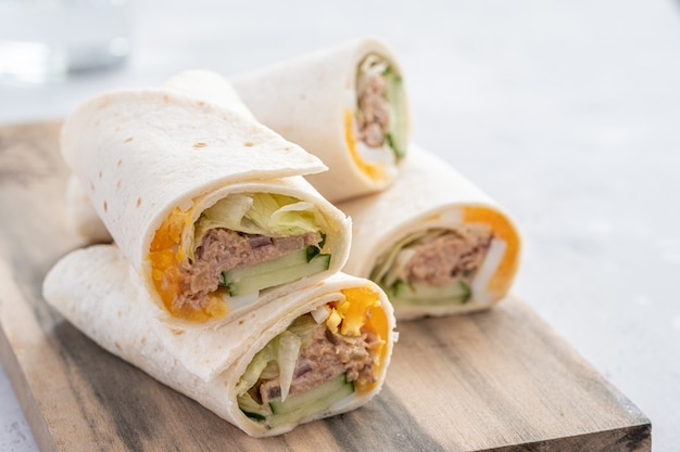 Tuna with egg and cucumber melt wrap