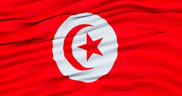 記念日のチュニジアの旗、チュニジアの手を振る旗、独立記念日。