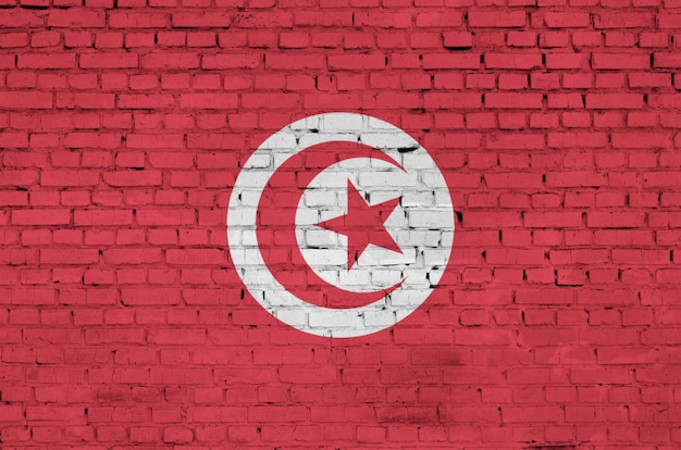 Tunisia flag is painted onto an old brick wall