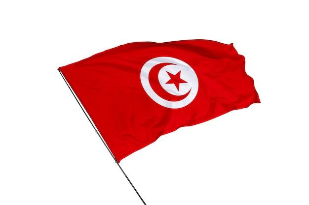 白い背景の上のチュニジアの旗