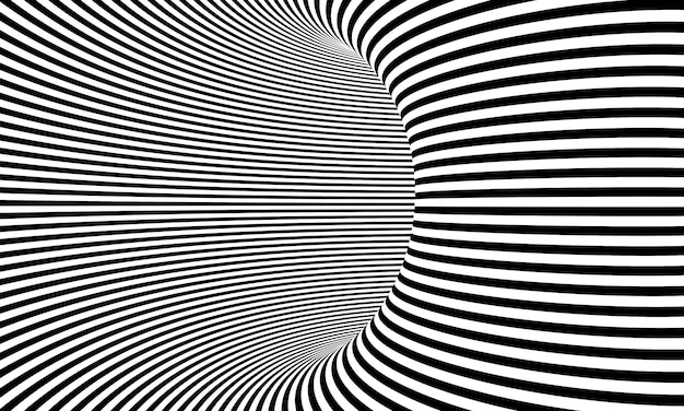 Tunnel 3d render black and white striped that create an optical depth effect.