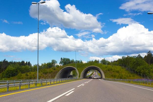 青い空を背景にノルウェーの山々のトンネル