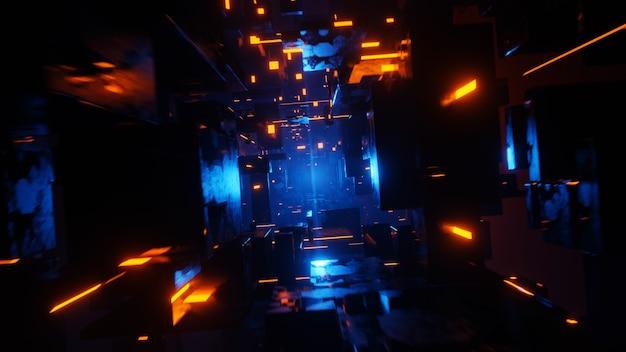 터널 공상 과학 반복 환경 기술 디지털 추상적 인 배경
