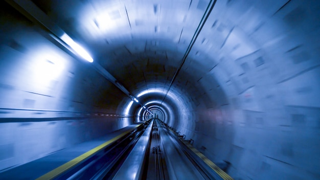 A tunnel for trains at the zurich airport, speed & technology concept