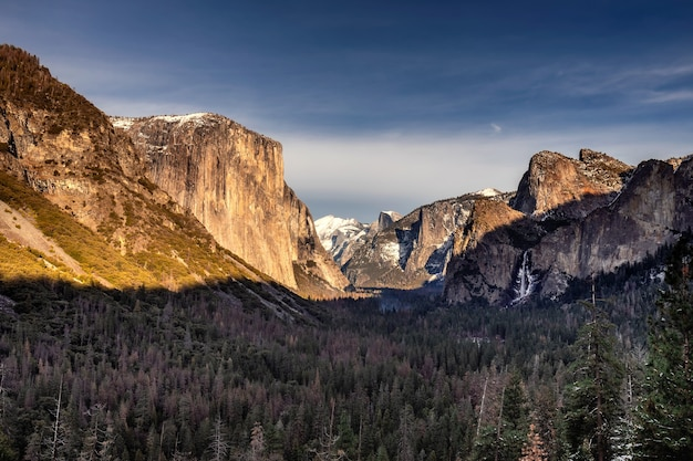 Tunnel view on sunrise on half dome, yosemite national park, california