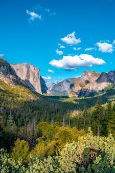 トンネルビュービューポイントは、ヨセミテ国立公園全体を見渡すのに最適な場所です。アメリカ