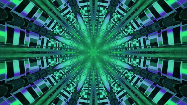 Tunnel with green abstract ornament 4k uhd 3d illustration