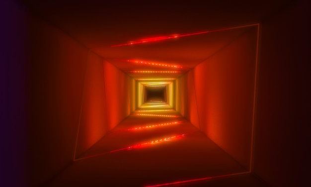 Tunnel with neon light background