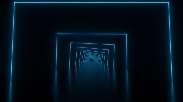 床に青い反射の正方形のトンネル