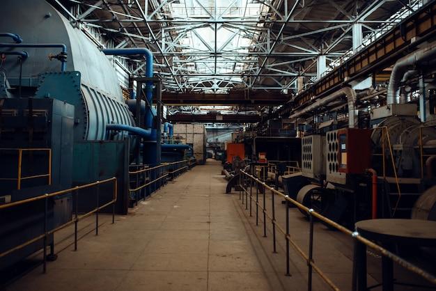 Turbine manufacturing factory interior, nobody. power machines plant, powerplants, industrial machinery