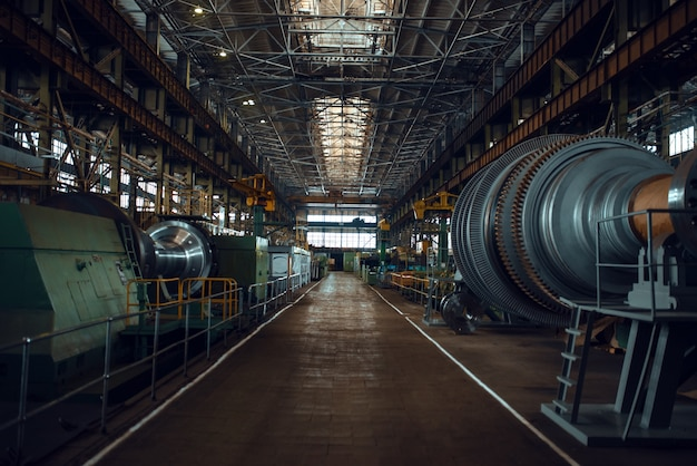 Turbine manufacturing factory interior, nobody. power machines plant, powerplants