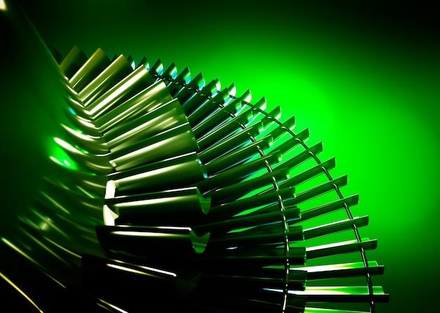 녹색 배경에 터빈입니다. 3d 렌더링.