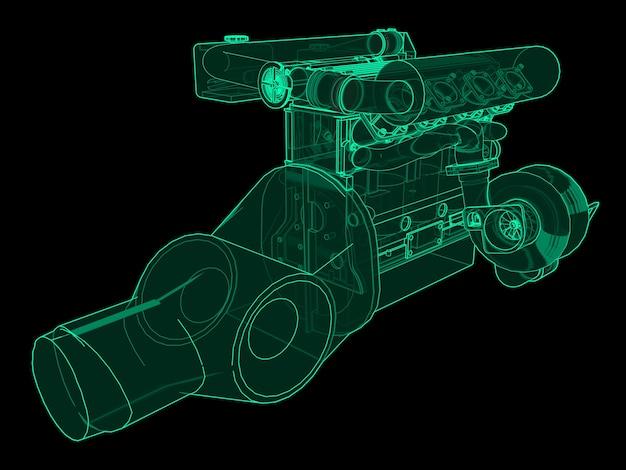 スポーツカー用のターボチャージャー付き4気筒高性能エンジン。黒の背景に緑のネオンの輝きのイラスト。 3dレンダリング。