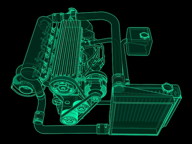Turbocharged four cylinder, high performance engine for sports car green neon glow  on black