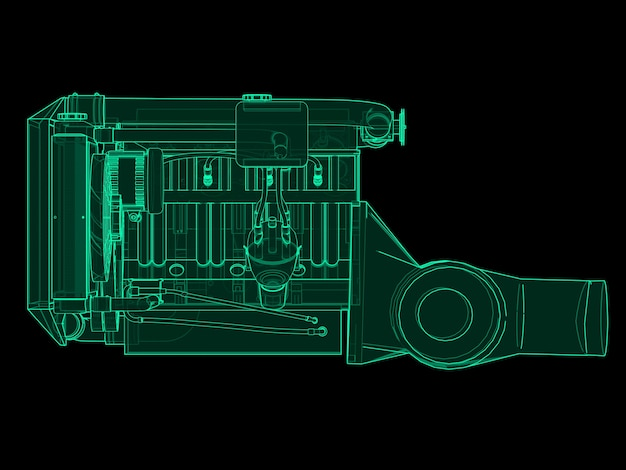 Turbocharged four-cylinder, high-performance engine for a sports car. green neon glow illustration on a black background. 3d rendering.