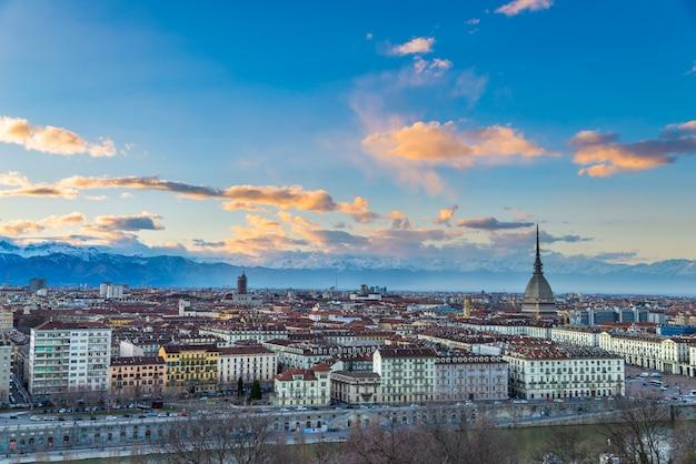 Turin skyline at dusk, torino, italy