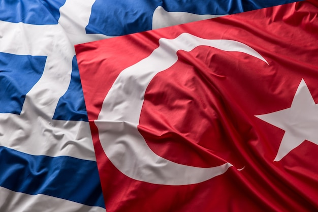一緒にギリシャの旗をturkea-スタジオショット。