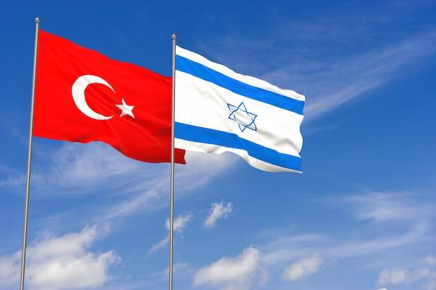 푸른 하늘 배경 위에 터키와 이스라엘 플래그입니다. 3d 일러스트레이션