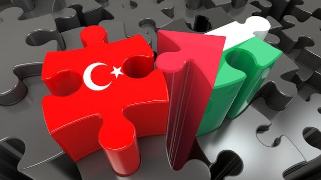 Флаги турции и палестины на кусочках головоломки. концепция политических отношений. 3d рендеринг