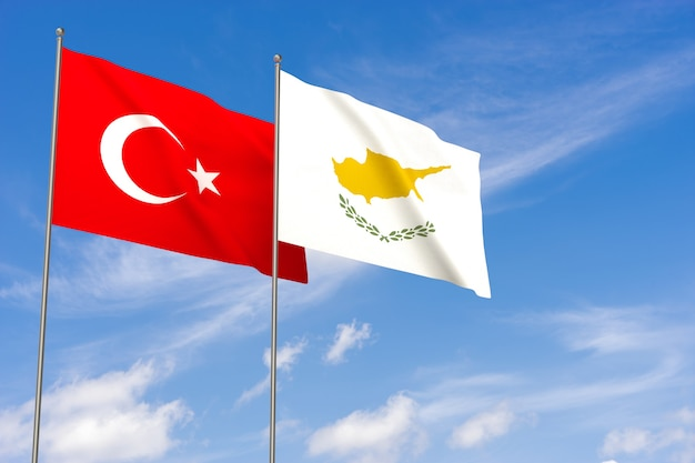 Turkey and cyprus flags over blue sky background. 3d illustration