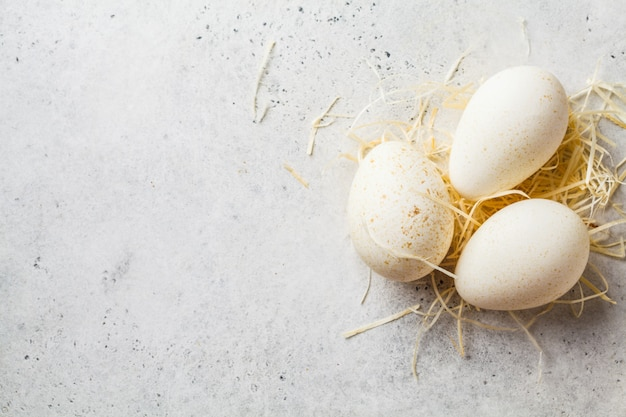 Turkey eggs on hay on white background, copy space.