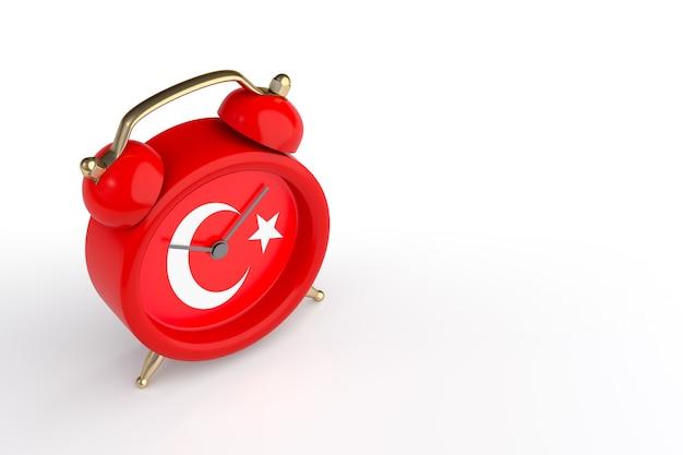 터키 국기와 빈티지 알람 시계입니다. 3d 렌더링