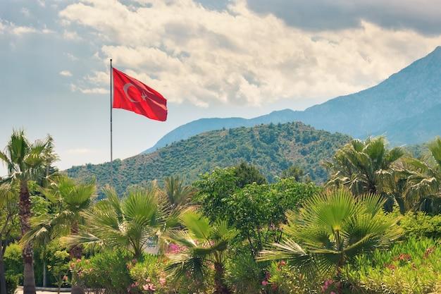 Флаг турции в сосновых ветках на фоне гор и голубого неба. выборочный фокус.