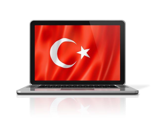Флаг турции на экране ноутбука, изолированные на белом. 3d визуализация иллюстрации.