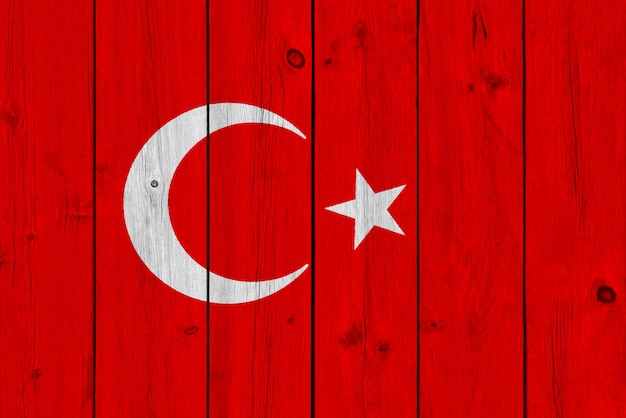 Turkey flag painted on old wood plank