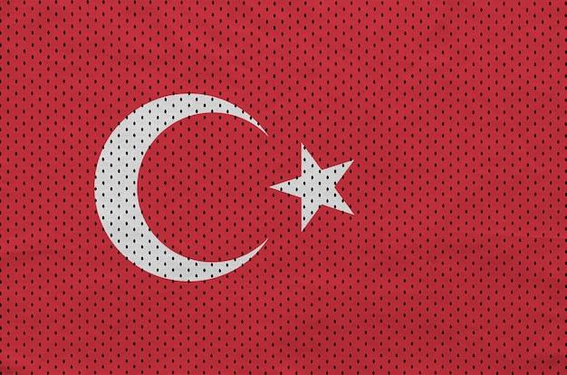 Turkey flag printed on a polyester nylon sportswear mesh fabric