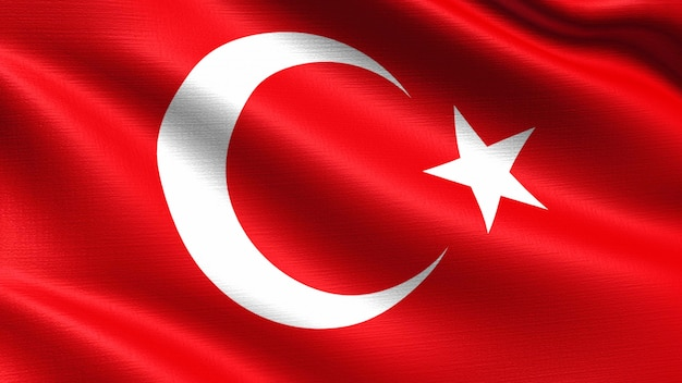 Turkey flag, with waving fabric texture