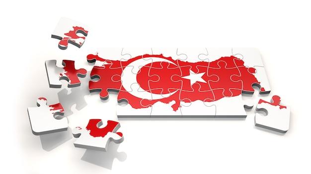 Турция hap с флагом как головоломка - 3d-рендеринг
