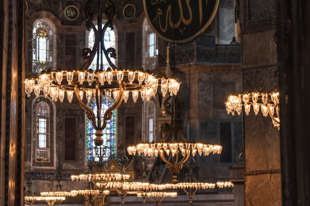 Turkey, istanbul, june 2018 - interior of hagia sophia. it is an object of unesco world heritage