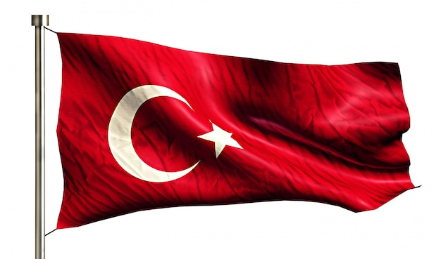 Turkey national flag isolated 3d white background