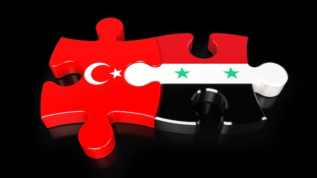 Turkey and syria flags on puzzle pieces. political relationship concept. 3d rendering