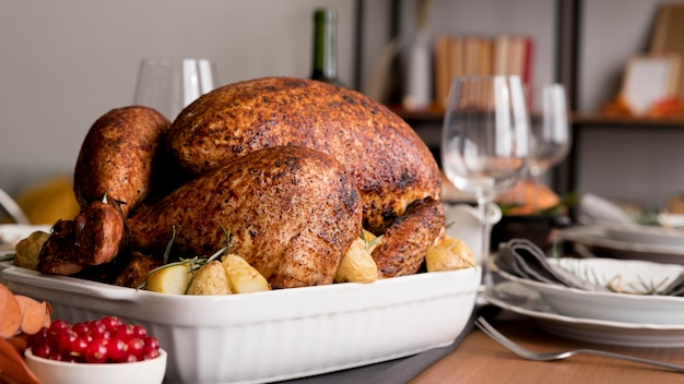 Turkey on table forthanksgiving day
