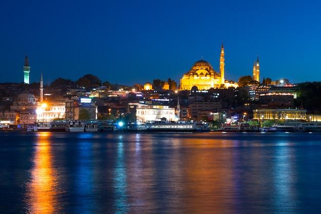 七面鳥。イスタンブールのウォーターフロント。街の明かりとリュステムパシャモスク。遊覧船とヨット。夜
