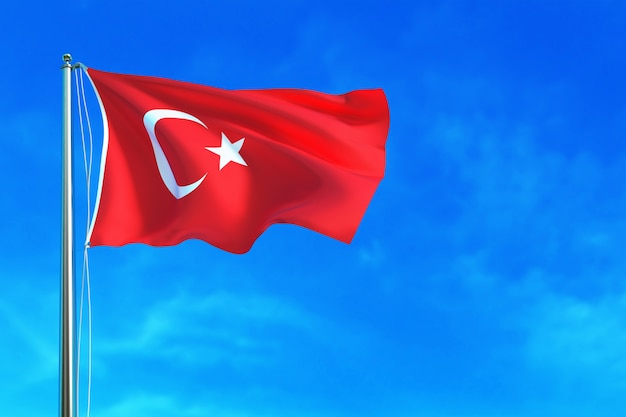 Turkey (turkish) flag on the sky background