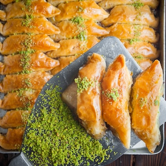 Turkish baklava dessert made of thin pastry, nuts and honey