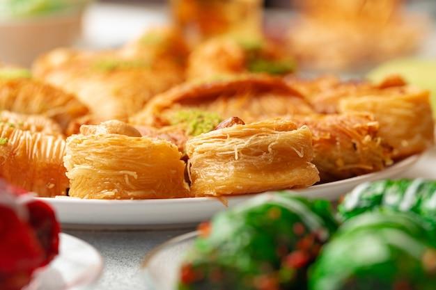 Turkish baklava dessert with honey close up