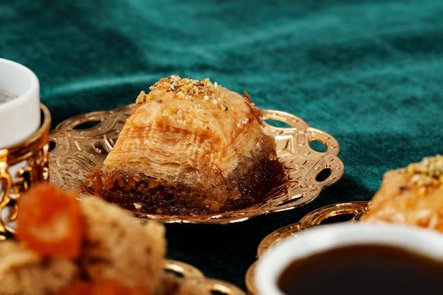 Turkish baklava national dessert served with tea