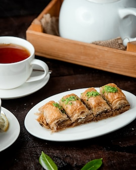 Turkish baklava with nuts and fragrant tea