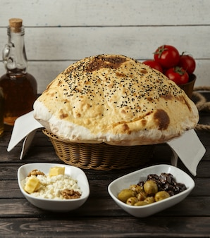 Turkish bread poof on the table