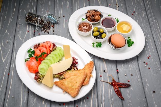 Turkish breakfast on a wooden table