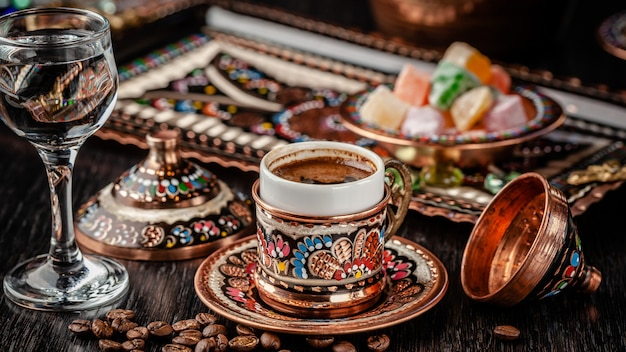 Turkish brewed black coffee.