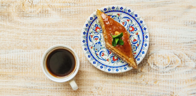 Turkish coffee and baklava on the table
