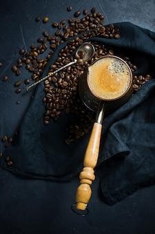 Turkish coffee in a cezve, the breakfast.