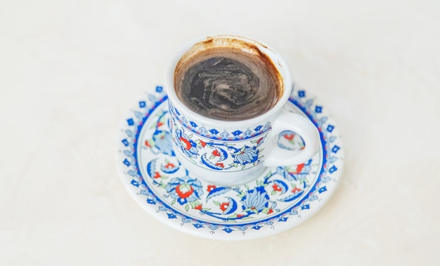 Turkish coffee on a light background. selective focus. drink.