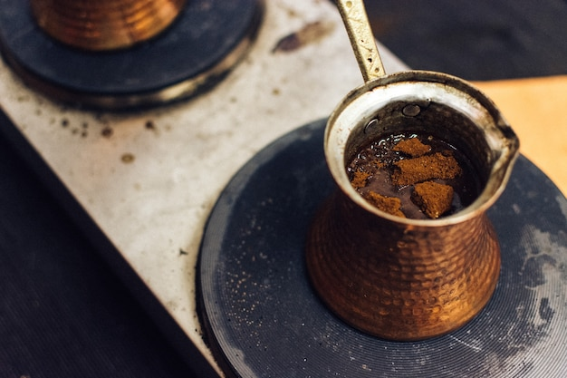 Turkish coffee made in ibrik