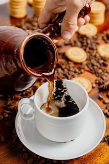 컵에 커피를 붓는 터키식 커피